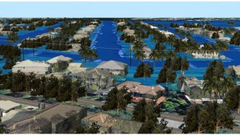 3D GIS Visualizations, Broward County, Florida: Site 2 Looking East, Flooding