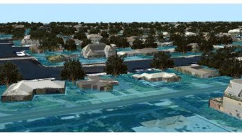 3D GIS Visualizations, Broward County, Florida: Site 2 Looking Northeast, Flooding