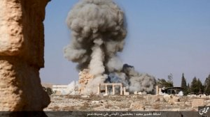 An image distributed by Islamic State militants on social media on August 25, 2015, purports to show the destruction of a Roman-era temple in the ancient Syrian city of Palmyra. REUTERS/Social Media