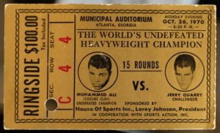 Former state Sen. Leroy Johnson's ticket to the Muhammad Ali vs. Jerry Quarry fight in 1970. Johnson used his political contacts to smooth the way for Ali to fight in Atlanta for his first fight after denouncing the Vietnam War. Ben Gray, bgray@ajc.com