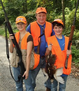 Junior hunters with mentor