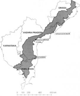 Spread of Eastern Ghats in southern part of India.