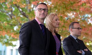 The Greens leader, Richard Di Natale with Larissa Waters and Adam Bandt in Canberra on Wednesday.